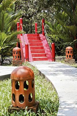 Up Garden Path Over Red Bridge Art Print by Kantilal Patel