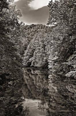 Up The Lazy River Monochrome Print by Steve Harrington