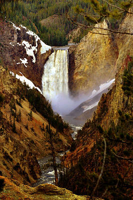 Yellowstone Digital Art - Upper Yellowstone Falls by Ellen Heaverlo