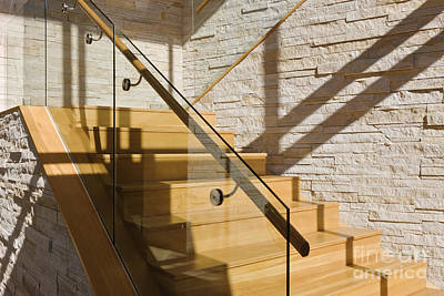 Upscale Photograph - Upscale Wood Stairs by Jeremy Woodhouse