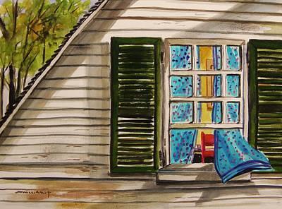 M.shadows Drawing - Upstairs Window by John Williams
