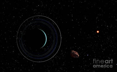 Planetoid Digital Art - Uranus And Most Of Its Nine Major Rings by Frank Hettick