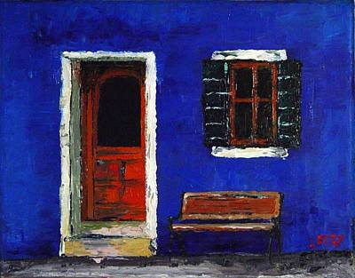 Urban Blues. Palette Knife Oil Painting. No Brush. Art Print