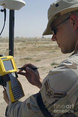 Digitized Photograph - U.s. Air Force Engineer Using Global by Stocktrek Images