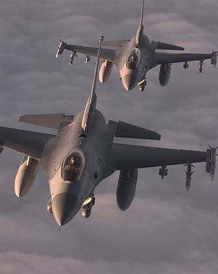 Dod Photograph - Us Air Force F-16c Fighting Falcons Fly by Everett
