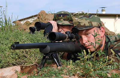 Telescopic Image Photograph - U.s. Air Force Soldiers Practice by Stocktrek Images