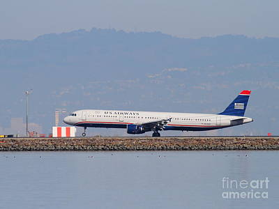 Us Airways Jet Airplane At San Francisco International Airport Sfo . 7d11982 Art Print