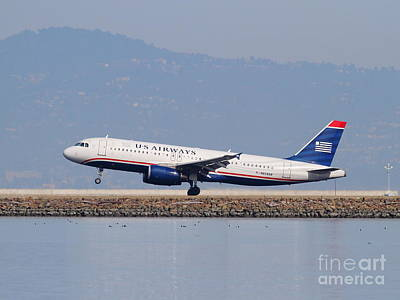 Us Airways Jet Airplane At San Francisco International Airport Sfo . 7d12018 Art Print
