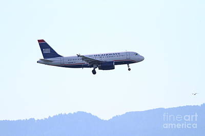 San Leandro Photograph - Us Airways Jet Airplane Landing . 7d11057 by Wingsdomain Art and Photography