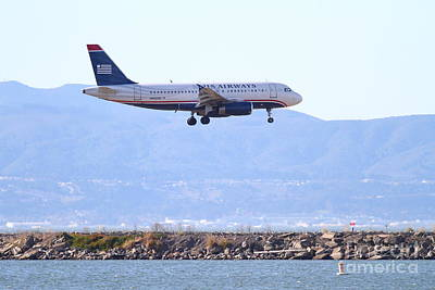 San Leandro Photograph - Us Airways Jet Airplane Landing At The Oakland Airport . 7d11058 by Wingsdomain Art and Photography