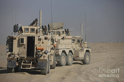 U.s. Army Cougar Mrap Vehicles Art Print by Terry Moore