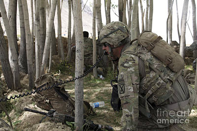 U.s. Army Soldier Communicates Possible Art Print by Stocktrek Images