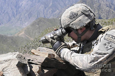 Photograph - U.s. Army Soldier Monitors An Afghan by Stocktrek Images