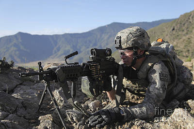 Photograph - U.s. Army Soldier Provides Overwatch by Stocktrek Images