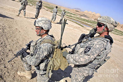 Talking On The Phone Photograph - U.s. Army Soldiers Call In An Update by Stocktrek Images