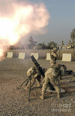 U.s. Army Soldiers  Fire A 120mm M120 Art Print by Stocktrek Images