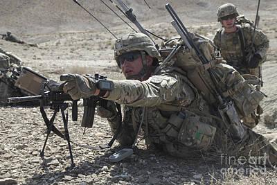 U.s. Army Soldiers Provide Security Art Print by Stocktrek Images