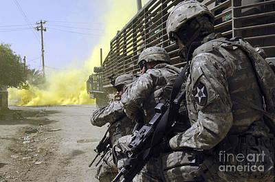 U.s. Army Soldiers Using Smoke Grenades Art Print by Stocktrek Images