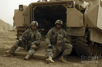Photograph - U.s. Army Soldiers Waiting At Patrol by Stocktrek Images