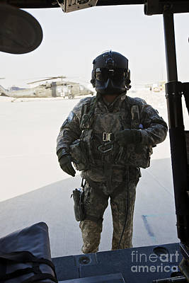Obscured Face Photograph - U.s. Army Uh-60l Loadmaster Confirms by Terry Moore