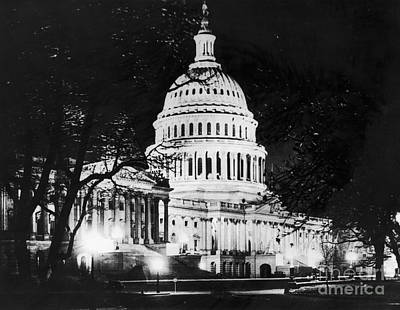 Photograph - U.s. Capitol At Night by Granger