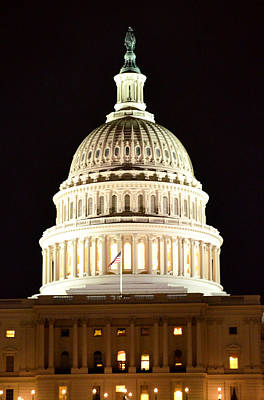 Art Print featuring the photograph Us Capitol At Night by Pravine Chester