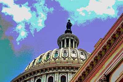 Capitol Building Digital Art - U.s. Capitol Building Dome by Les Mayers