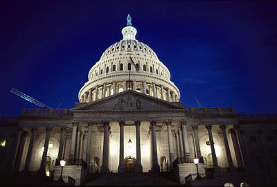 U.s. Capitol, East Front, Night View Art Print