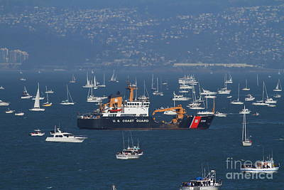 Us Coast Guard Ship Surrounded By Boats In The San Francisco Bay. 7d7895 Art Print by Wingsdomain Art and Photography