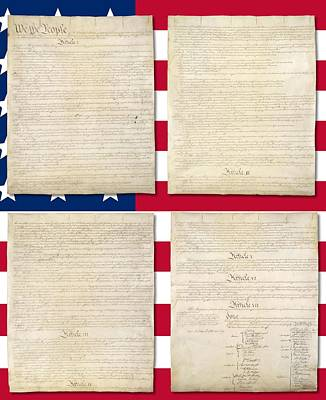 Constitution Digital Art - Us Constitution Over Us Flag by Ron Hedges