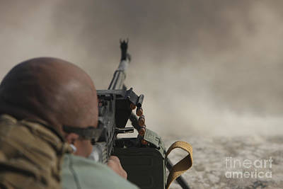 U.s. Contractor Firing The Pkm 7.62 Art Print by Terry Moore