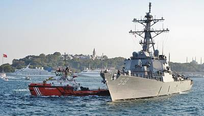 Photograph - Us Cruiser Docking In Istanbul by Ian  MacDonald