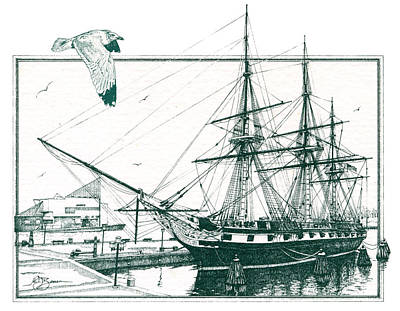 Us Frigate Constellation Print by John D Benson