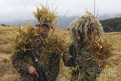 U.s. Marine And Japanese Sniper Await Art Print by Stocktrek Images