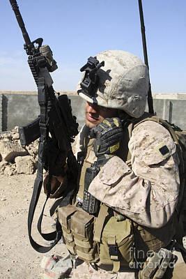 U.s. Marine Communicates With Fellow Print by Stocktrek Images