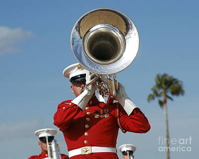 Euphonium Photograph - U.s. Marine Corps Drum And Bugle Corps by Stocktrek Images