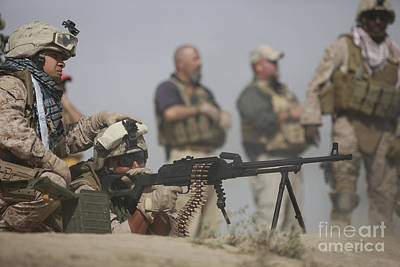 U.s. Marine Firing A Pk 7.62mm Machine Art Print by Terry Moore