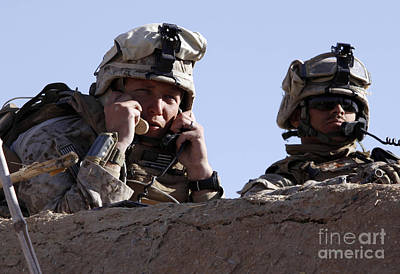U.s. Marine Gives Directions To Units Art Print by Stocktrek Images
