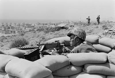 Us Marine In A Foxhole In Beirut Art Print by Everett