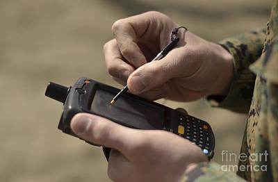 Digitized Photograph - U.s. Marine Using Gps Capabilities by Stocktrek Images