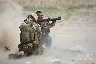U.s. Marine Watches An Afghan Police Art Print by Terry Moore