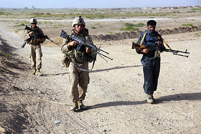 U.s. Marines And Afghan National Police Art Print