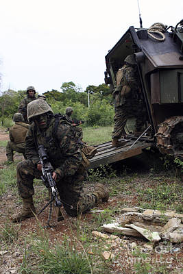 Photograph - U.s. Marines Debark Their Assault by Stocktrek Images