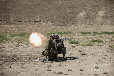 U.s. Marines Fire A Rocket-propelled Art Print by Terry Moore