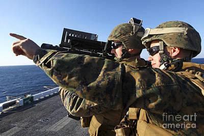 U.s. Marines Practice Firing Art Print by Stocktrek Images