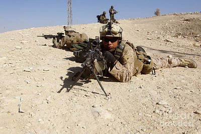 Down On The Ground Photograph - U.s. Marines Provide Security by Stocktrek Images