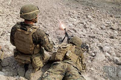 U.s. Marines Provide Suppressive Fire Art Print