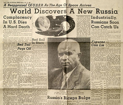 Nikita Photograph - Us Newspaper Article On Russian Space Age by Detlev Van Ravenswaay