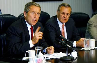 U.s. President George W. Bush Answers Art Print