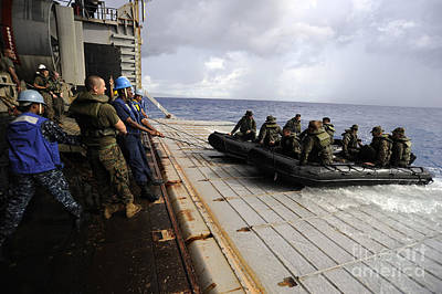 Inflatable Photograph - U.s. Sailors And Marines Recover by Stocktrek Images